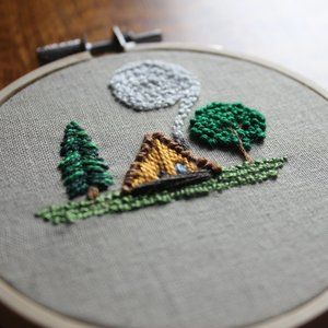 Tiny A-Frame Day Dream Hand Embroidered Textile